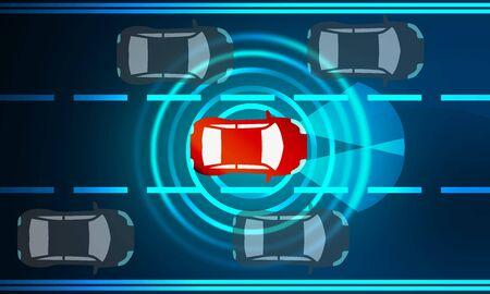 Concept pour les systèmes d'aide à la conduite. Voiture autonome, rendu 3d