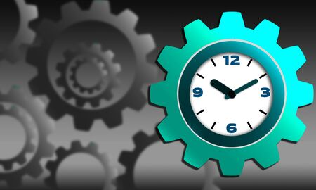Clock and gear sign for productivity concept, 3d rendering