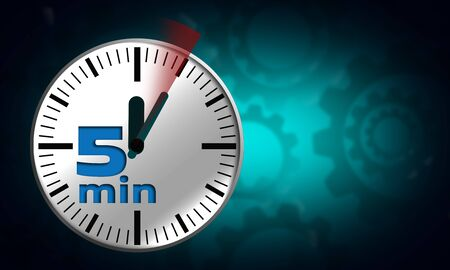Clock face with five minutes timer, 3d rendering