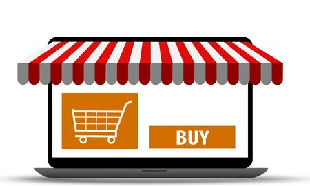 Laptop buying and shopping online. Ecommerce store concept. 3d rendering
