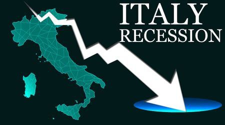 Italy map with arrow indicated recession. 3d rendering
