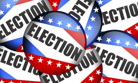Election batch with blue, red and stars. Election badge button for background. USA election. 3d rendering Archivio Fotografico