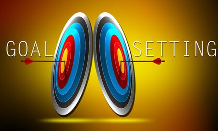 Goal setting concept with arrow hit on the center of target. 3d rendering