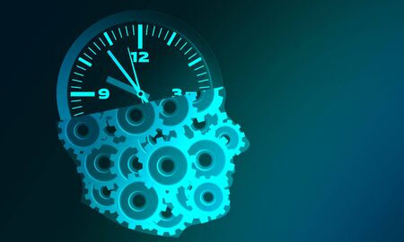 Human head with cogs and clock for business planning concept, 3d rendering.