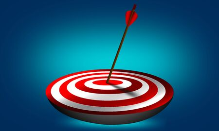 Arrow hit exactly the target. Business goal achieved. 3d rendering