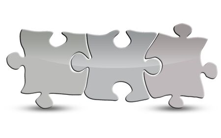 Blank puzzle isolated on white, 3D rendering Stockfoto