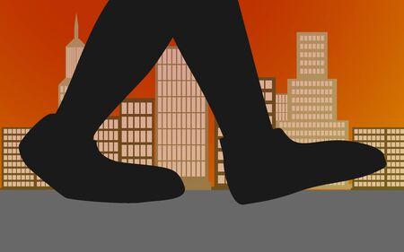 Walking feet in the city, 3D rendering 免版税图像