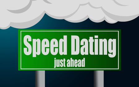 Speed Dating word with exit highway street sign, 3D rendering  Stock Photo