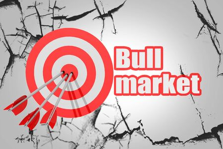 Bull market word with red arrow and board, 3D rendering