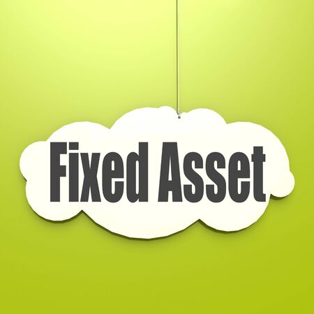 Fixed Asset word on white cloud with green background, 3D rendering