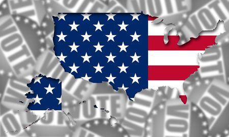USA voting concept for US elections, 3d rendering