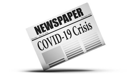 Newspaper issues with Covid-19 crisis news, 3d rendering