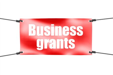 Business grants word with red tie up banner, 3D rendering