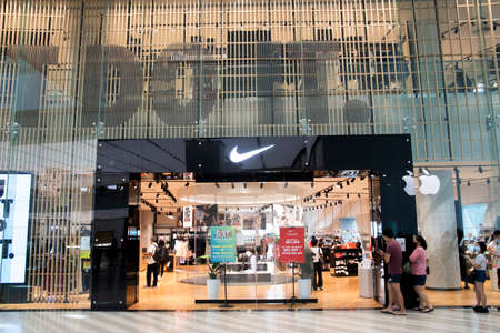 SINGAPORE, 24 Jul, 2020: Nike Shop located inside the Jewal Changi Airport in Singapore. Jewel Changi Airport is a world-class multi-dimensional lifestyle destination in Singapore
