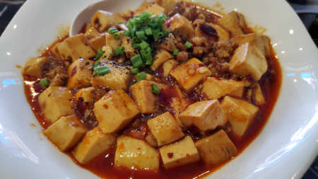 Ma Po tofu, Chinese cuisine tofu and mince with hot spicy sauce