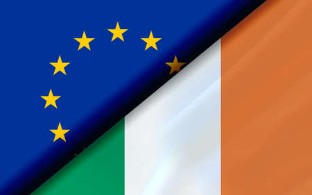 Flags of the EU and Ireland divided diagonally. 3D rendering