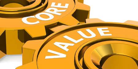 Core value word on golden gears, 3d rendering