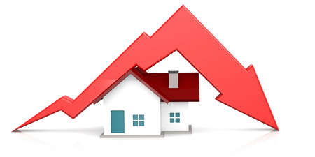 Falling of real estate market, 3D rendering Stock Photo