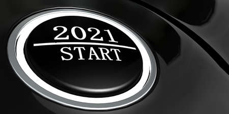 Button to start year 2021, 3D rendering