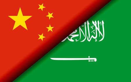 Flags of the China and Saudi Arabia divided diagonally. 3D rendering