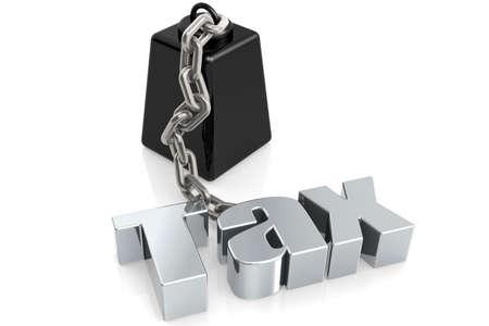 Metallic tax word chain to weight., 3D rendering Foto de archivo