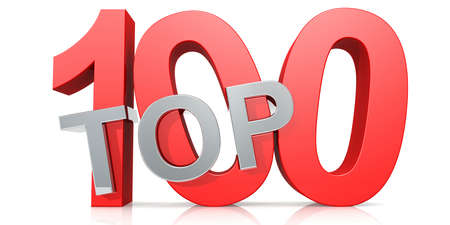 Top 100 word isolated on white background, 3D rendering