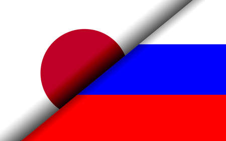 Flags of the Japan and Russia divided diagonally. 3D rendering