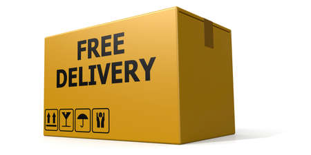 Free delivery text on the cardboard box isolated, 3D rendering Foto de archivo