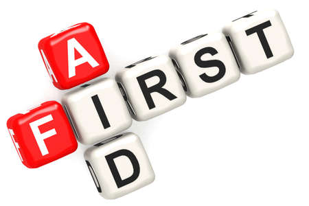 First aid cube crossword on white background, 3D rendering