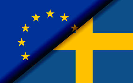 Flags of the EU and Sweden divided diagonally. 3D rendering