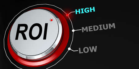High ROI indication with metal knob, 3d rendering