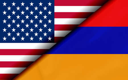 Flags of the USA and Armenia Divided Diagonally. 3D rendering Banco de Imagens