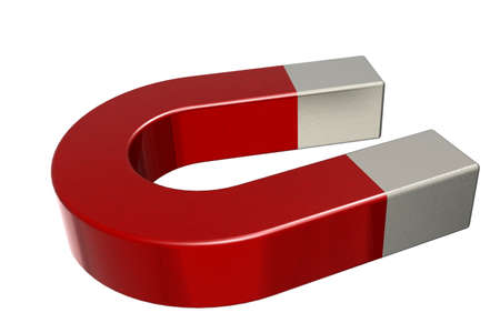 Red horseshoe magnet isolated on white, 3D rendering