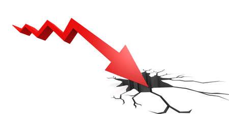 Market crash with red arrow fall into crack ground, 3D rendering 版權商用圖片