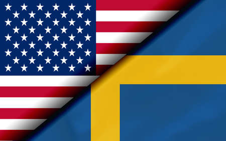 Flags of the USA and Sweden Divided Diagonally. 3D rendering