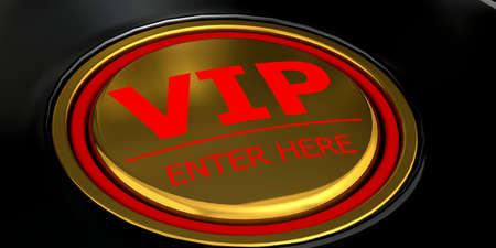 VIP enter here golden button, 3d rendering Archivio Fotografico