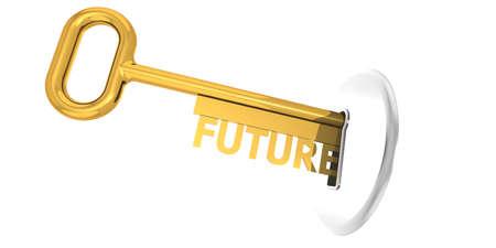 Future key plug into key hole, 3D rendering Banque d'images