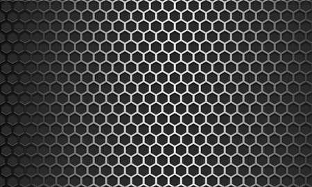 Metal texture pattern with hexagon mesh design, 3d rendering