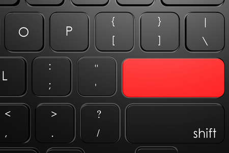 Red blank button on keyboard, 3D rendering