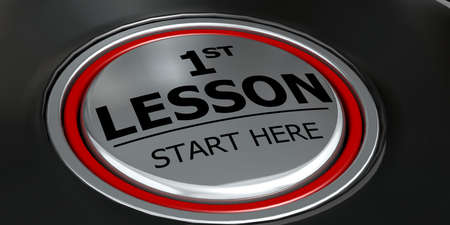 First lesson start here button on black background, 3d rendering Imagens