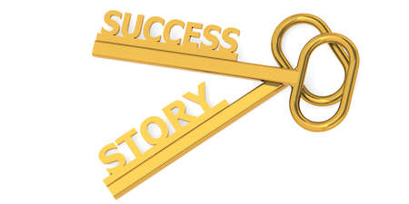 Success story word with keys, 3D rendering Imagens
