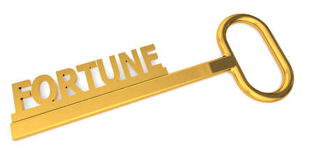 Fortune word with key isolated, 3D rendering