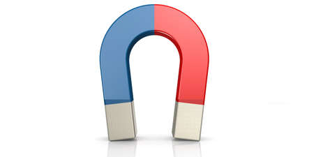 Red and blue horseshoe magnet, 3D rendering