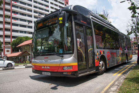 Singapore-09 Aug, 2020: SMRT bus travel on the Singapore street on in Singapore. SMRT Buses is a bus operator in Singapore, a subsidiary of SMRT Corporation Editorial