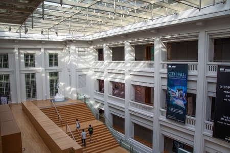 Singapore,- 8 Nov, 2020: Unidentified people visit National Gallery museum in Singapore. The gallery oversees the world largest public collection of Singapore and Southeast Asian art. Editorial