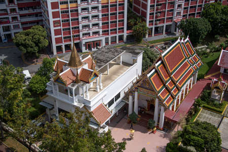 Singapore- 14 Nov, 2020: Ariel view of Uttamayanmuni Buddhist Temple, which is a beautiful temple located in Choa Chu Kang.
