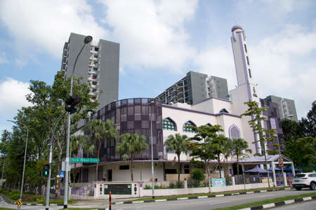 Singapore- 14 Nov, 2020: View of the Al-Khair Mosque, a mosque in Choa Chu Kang, Singapore. It was founded in the early 1960s