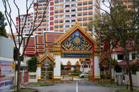Singapore- 14 Nov, 2020: View of entrance of Uttamayanmuni Buddhist Temple, which is a beautiful temple located in Choa Chu Kang. Editorial