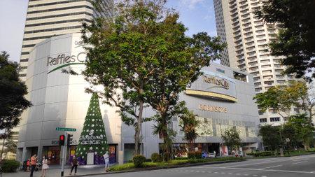 Singapore,- 8 Nov, 2020: External view of Raffles City Shopping mall in Singapore Editorial