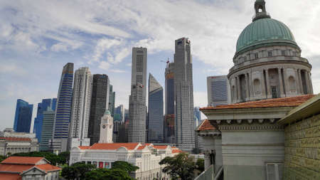 Singapore,- 8 Nov, 2020: View of the downtown Singapore skyline taken from the National Gallery of Singapore art museum at blue sky with clouds